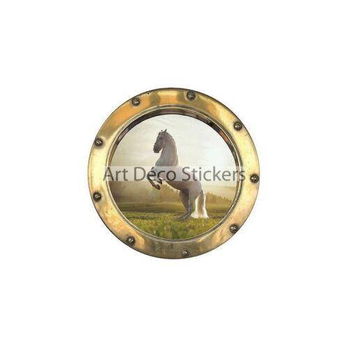 8808 Stickers porthole trompe l/'oeil horse ref