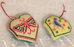 Details About Vintage Hand Embroidered Christmas Ornaments Lot Of 2 Multi Color Butterfly Bird