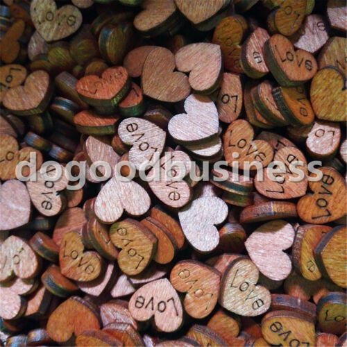 50-100pcs Mini Wooden Love Heart Embellishment Confetti Wedding Table Decoration