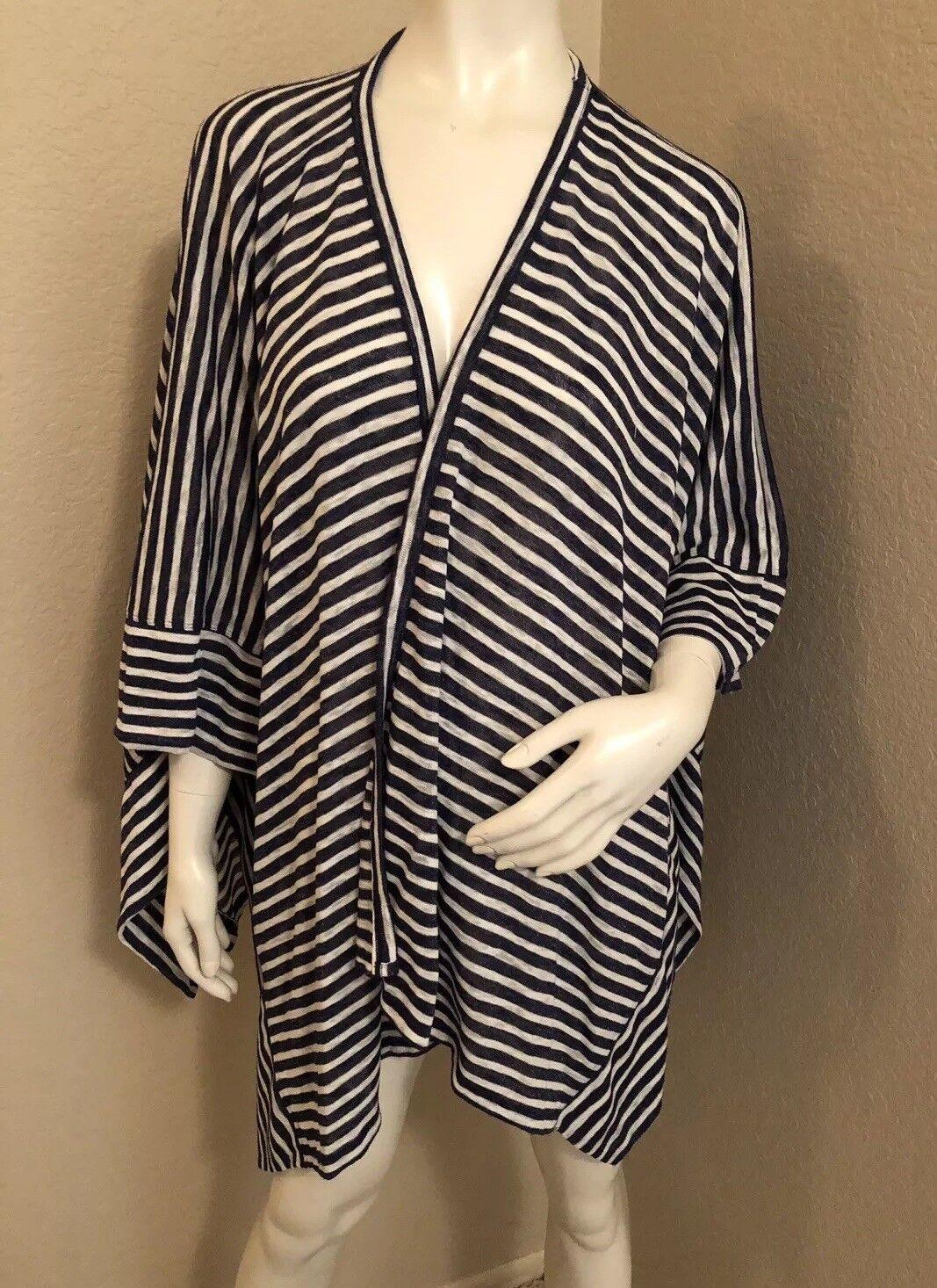 NWT Liz Claiborne Open Front Cardigan Knit bluee & White Striped XL