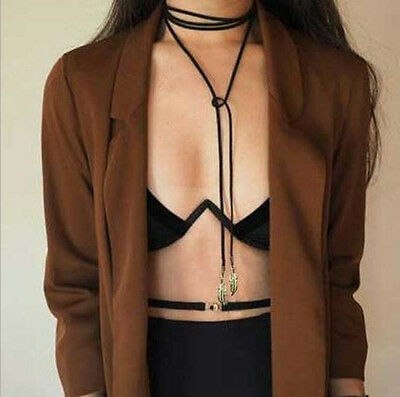 Retro Women Jewelry Gothic Black Velvet Choker Necklace Long Chain Leaf Pendant