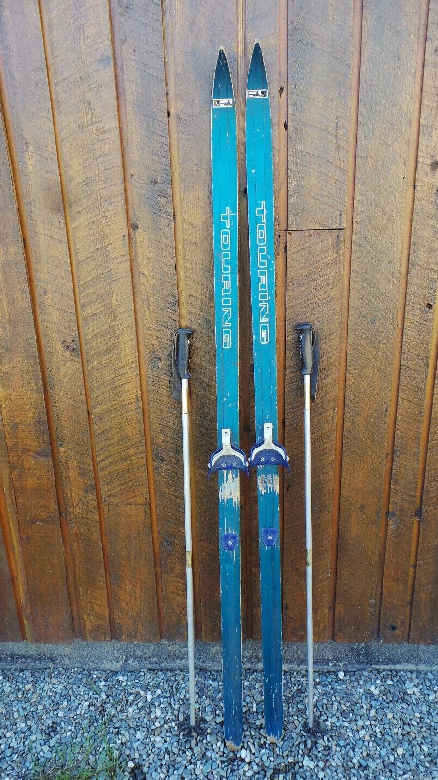 VINTAGE Wooden 72  Skis with Old bluee  Finish and Metal Poles