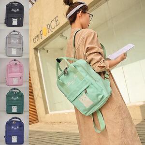 Women-Girl-Canvas-Shoulder-School-Bag-Travel-Rucksack-Backpack-Cat-Print-Handbag