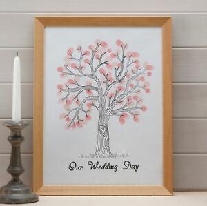Das Bild Wird Geladen Hochzeitsbaum Fingerabdruck Baum Auf Leinwand Mit Stempeln Gaestebuch