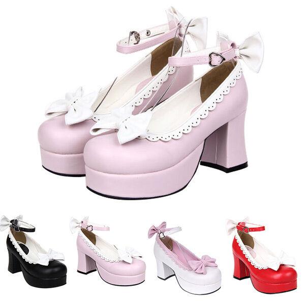 Gothic Goth Lolita Barock Bow Damen Schuhe Shoes Cosplay Kostüme pumps high heel