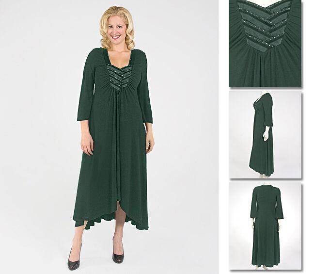 NEW   Zaftique SATIN INTERLACED Dress EMERALD Green 2Z 6Z   20 36   2X 6X
