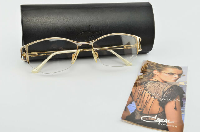 CAZAL Brille Mod. 160 Col. 989 Half-Rim Deluxe Eye Frame Lunettes Gold +Case NOS