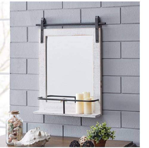 Wall Storage Mirror Barn Door Bathroom Decor Wood White Vanity Farmhouse Bath