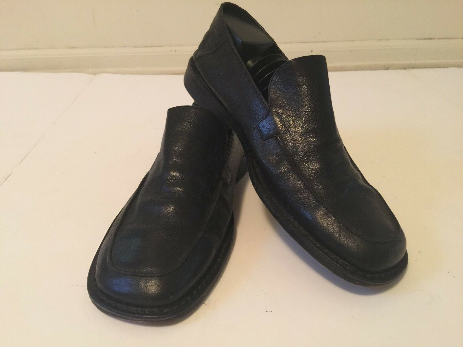 J.Crew Mens Black Leather Slip-On Loafers Shoes (Sz 10 M)