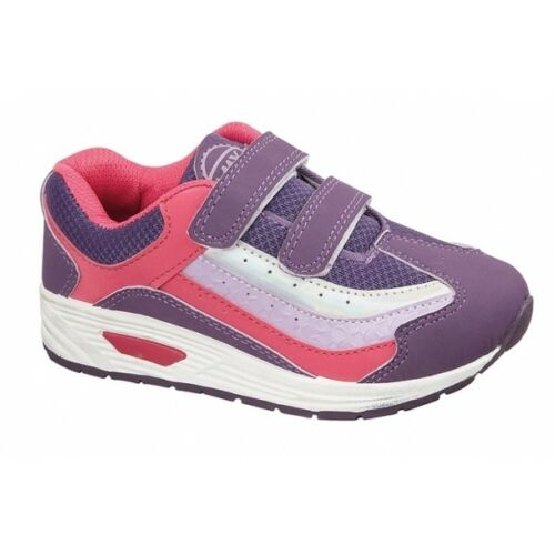 Shumo HAZY Girls Kids Junior Dual Touch Fasten Strap Sporty Trainers Purple//Pink