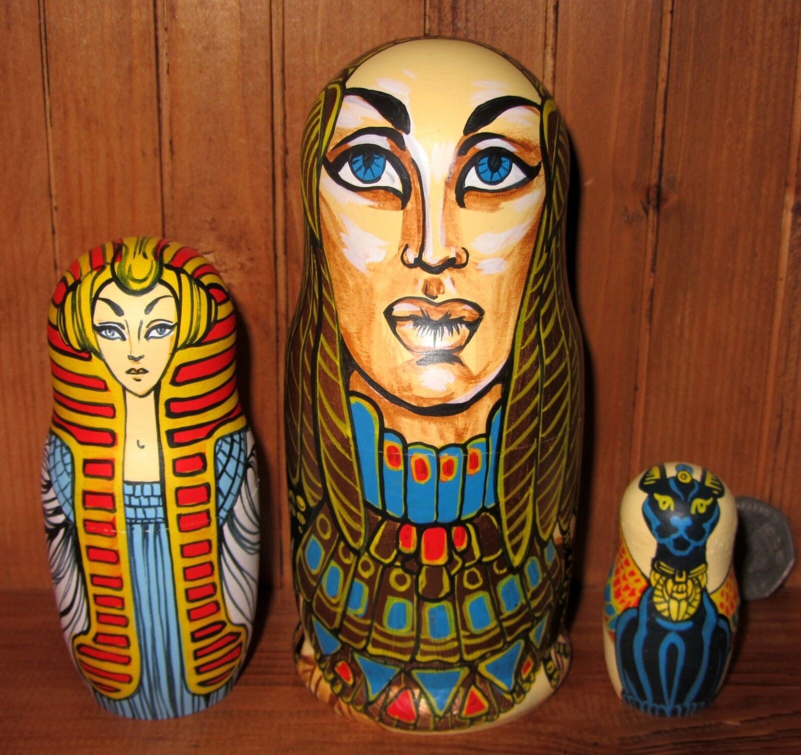 Nesting Dolls Matryoshka Russian 3 Gold Ancient Egypt Gods Goddesses MATT