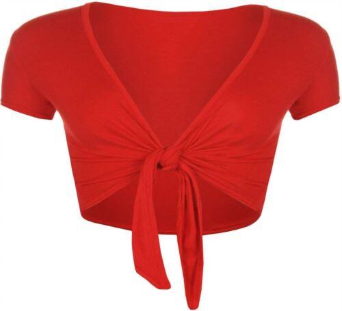 NUOVA linea donna corpetto Cardigan Anteriore Tie Knot Wrap Shrug Crop Top 8-14