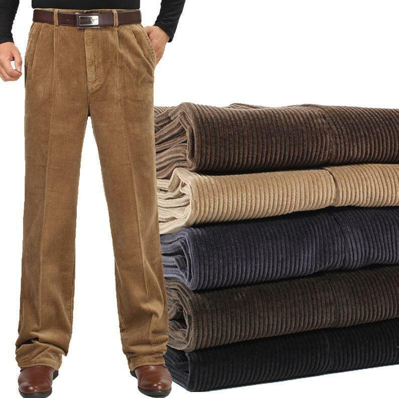 Autumn Mens Cotton Trousers loose Comfort Warm dress Corduroy Casual Pants Hot T