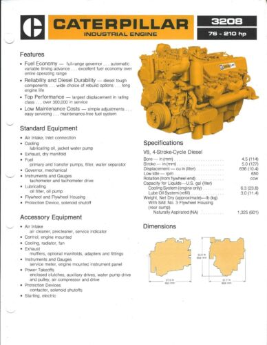 Equipment Brochure - Caterpillar - 3208 Industrial Engine - c1982 2 items(E3914)