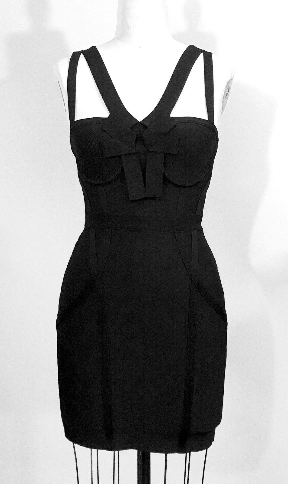 Bebe Bustier Origami schwarz Bandage Dress Größe S