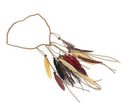Indian Feather Headband Women Native American Hair Rope Boho War Bonnet Beauty