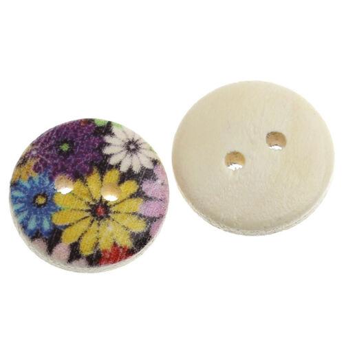 6 Flower design Buttons 15mm Sewing Scrapbook