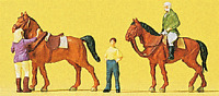 N Scale 79186 Preiser Horses at The Riding School Figures