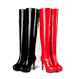 23f97f35560 Details about Women High Heel Platform Shoes Black/Red Shiny Synthetic  Leather Over Knee Boots