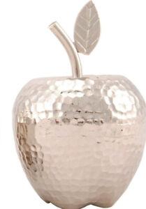 XL-Apfel-Deko-Aluminium-Metall-silber-gehaemmert-Shabby-Brocante