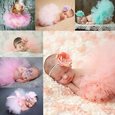 Cute Newborn Headdress Flower+Tutu Clothes Skirt Baby Girls Photo Prop Outfits