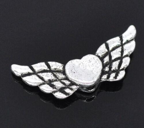 Großhandel Antiksilber Herz /& Flügel Spacer Perlen Beads 22x9mm