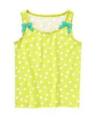 NWT Gymboree Girls Lime Green Polka Dot Bow Tank Top Size 4 5 6 7 8 /& 12