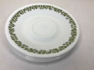 Corelle-by-Corning-Vintage-Green-Flower-Design-Saucer-Plates-6-1-4-Lot-Of-5-USA