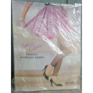 New-Black-Fishnet-Footless-Tights-Stockings-Nylons-OS-One-Size-90-160-Pounds