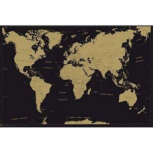 Poster Mapa Mundo Metalizado Ebay