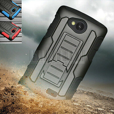 Rugged Hybrid Case Hard Cover Belt Clip Holster For LG Tribute LS660 Optimus F60