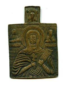 Antique-XVIII-Centur-Russian-Hand-Made-BRONZE-Icon-Jesus-Christ-Pantocrator-RARE