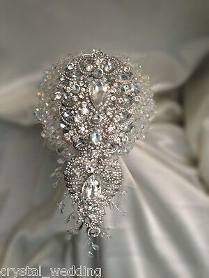 Crystal Sensational Wedding brides brooch Bouquet made with Swarovski Elements