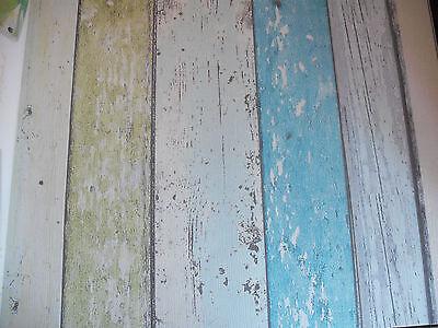 Luxury Designer  Wallpaper (Blue/Green Washed Board Effect)