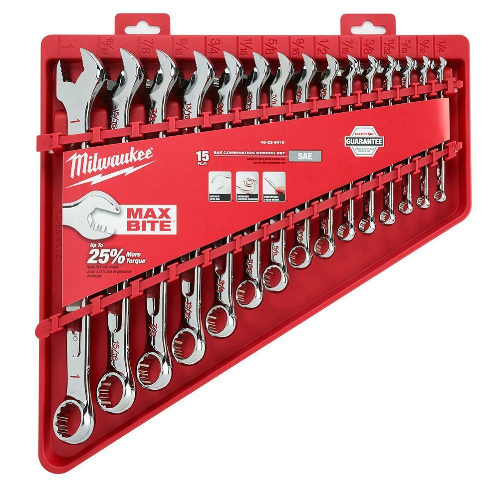 Milwaukee 48-22-9415 15-pc Combination Wrench Set - SAE