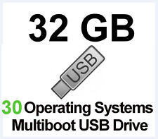 32GB USB Multiboot Flash Drive, 30 Bootable Linux Systems, Wifi,Windows Repair