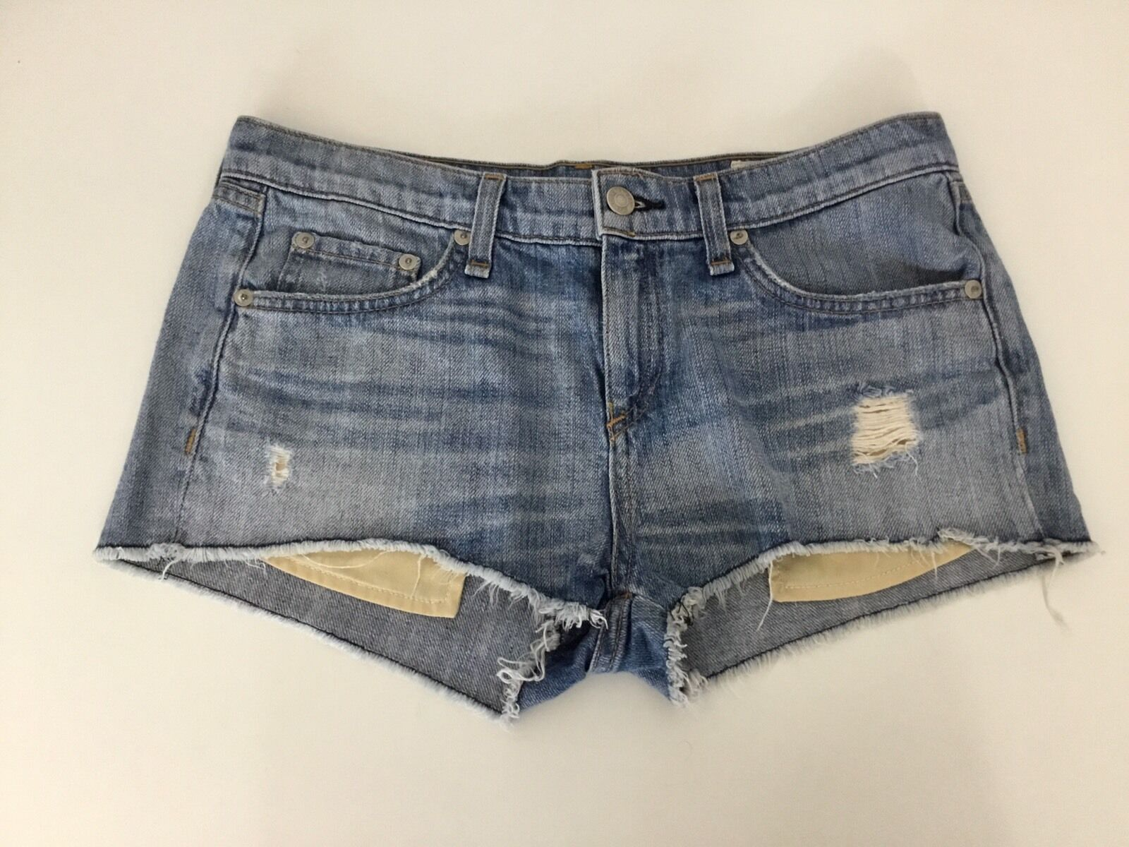 Rag & Bone bluee Denim Shorts Distressed Waist 26  Inches Colour Moss Vgc
