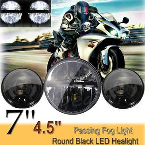 7-039-039-LED-Haupt-Scheinwerfer-2x-4-5-039-039-Zusatzscheinwerfer-Licht-Fuer-Harley-Davidson