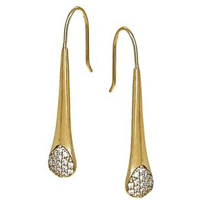 Yellow-Gold-Flashed-925-Silver-Cubic-Zirconia-Elongated-Teardrop-Hook-Earrings