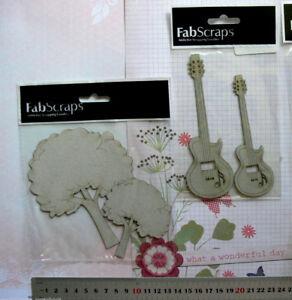 CHIPBOARD-DieCut-GUITAR-amp-FLUFFY-TREES-2-Style-Choice-Fab-Scraps-GH