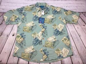 NWT-Paradise-Blue-80-Silk-S-S-Hawaiian-Style-Shirt-Men-039-s-Size-XL