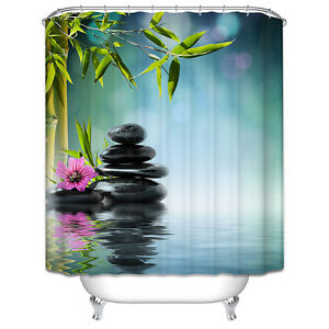 Image Is Loading Spa Stones Flower Shower Curtain Tranquil Zen Bamboo