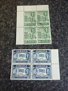 JAMAICA-POSTAGE-STAMPS-SG139-140-BLOCKS-OF-4-MARGINAL-SUPERB-USED