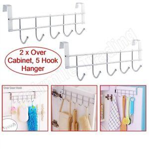 Image Is Loading 2 X Over Cabinet Door Hangers 5 Hooks