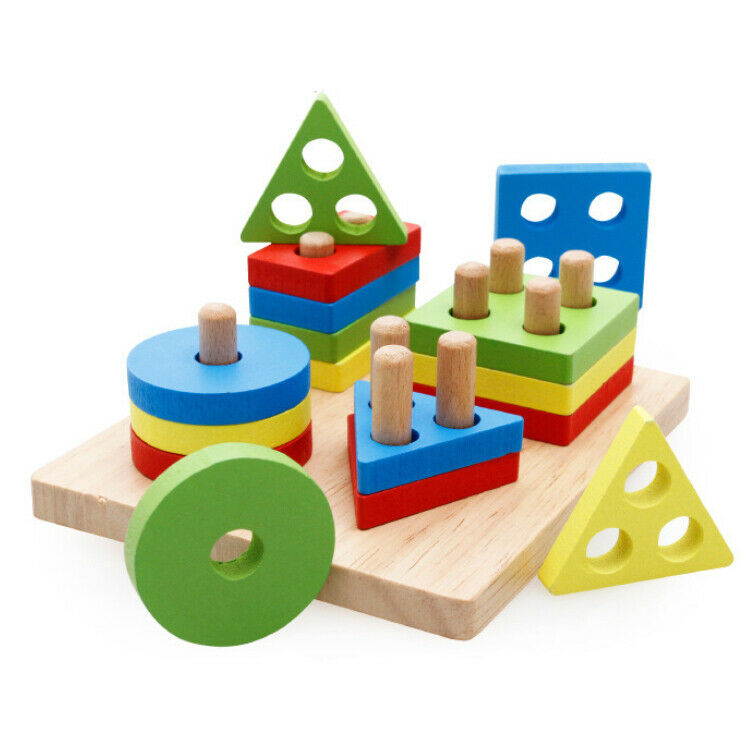 Educational Shapes Kids Toy Puzzle Geometric Shape Wooden Games Christmas Gift 2