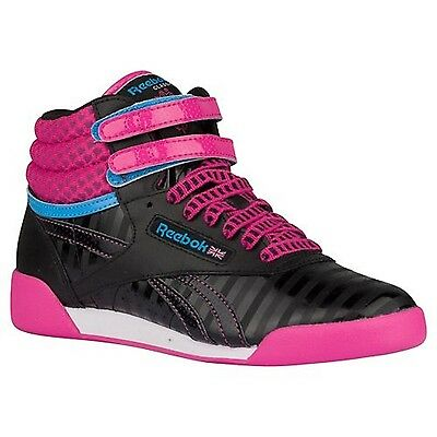 REEBOK V63072 FREESTYLE HI Yth/'s Black//Pink Leather Casual Hi Top Shoes M