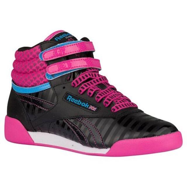 REEBOK V63072 FREESTYLE HI Yth's (M) Blk/Pnk Leather Casual Hi Top Shoes