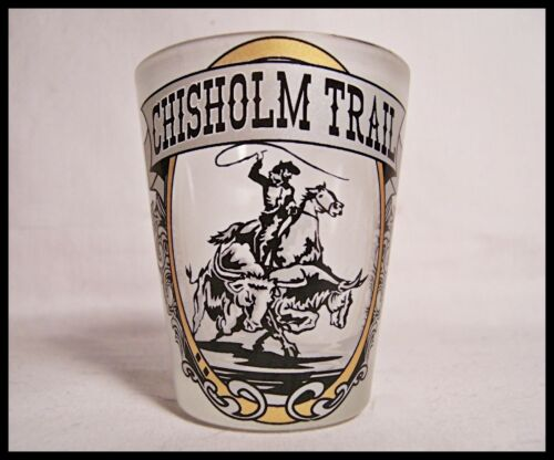 Shot Glass Chisolm Trail Drive cattle From South Texas to Abilene Kansas New 15