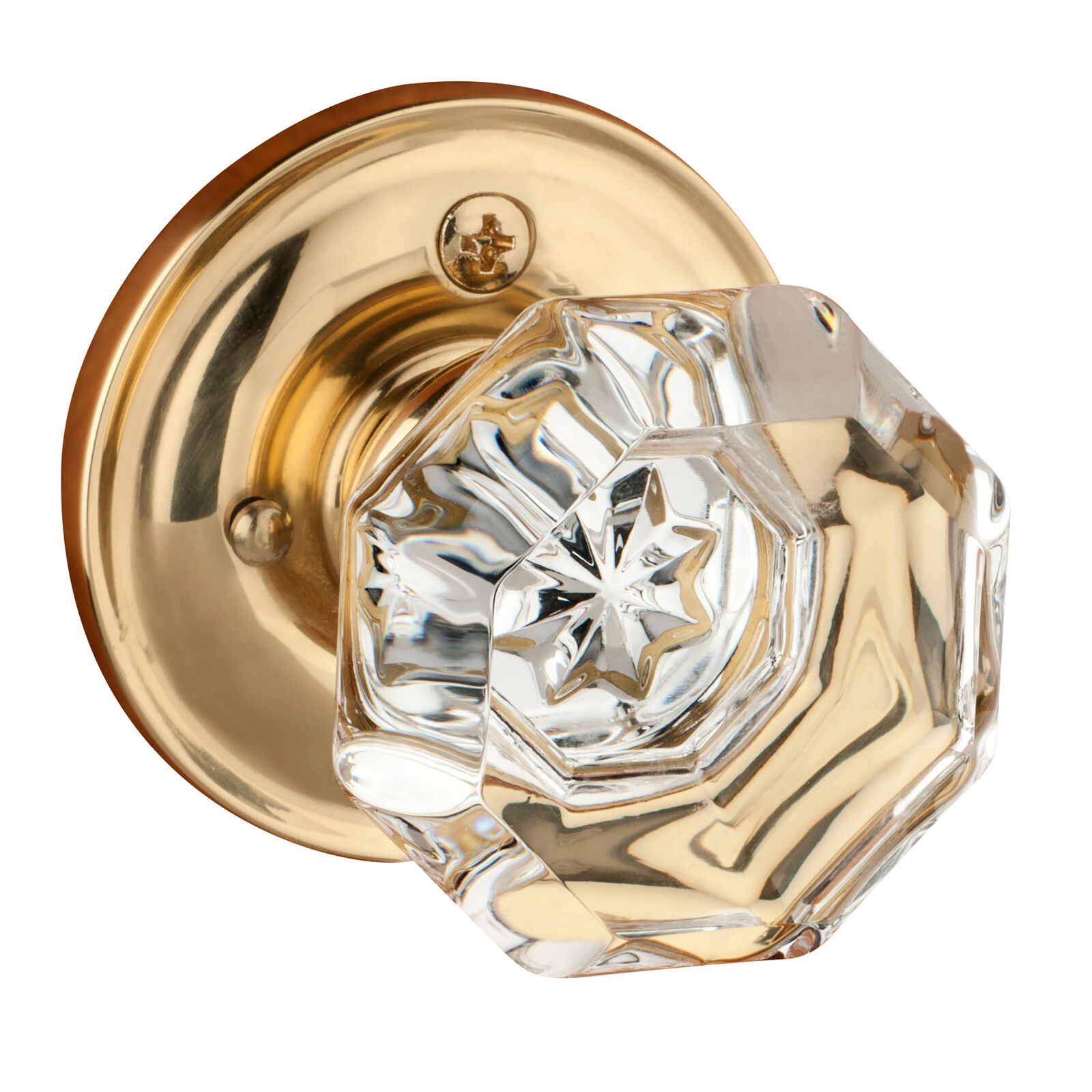 Dynasty Hardware Crystal Style Door Knob, Privacy Function, Polished Brass