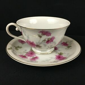 VTG-Cup-and-Saucer-by-NS-Nagoya-Shokai-Mountain-Pink-Ivory-China-Japan